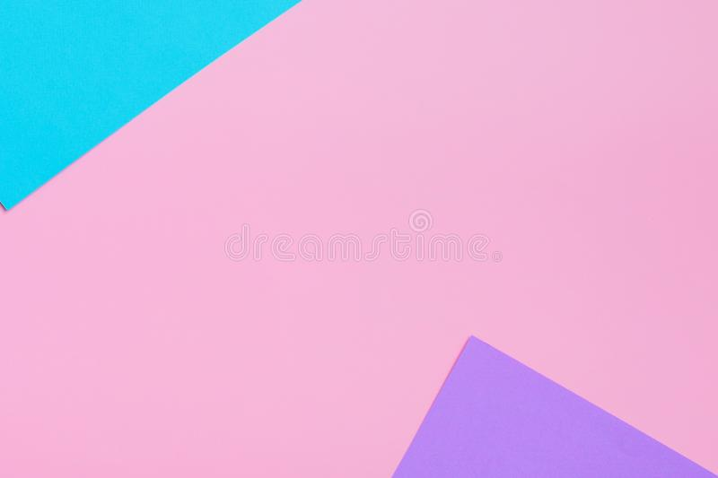 Soft pink, blue and purple background. Colorful texture. Flat lay. Minimal concept. Creative concept. stock image
