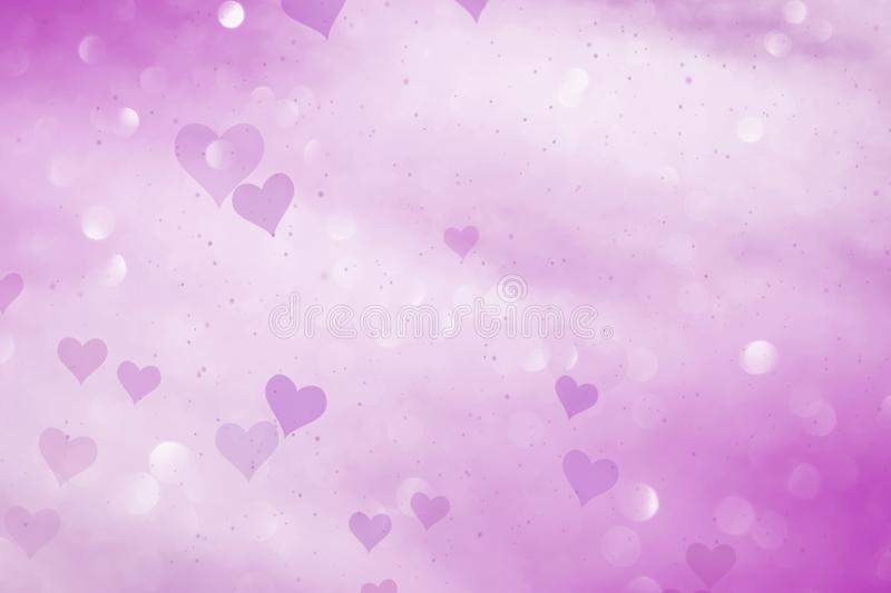 Pink colored hearts on bokeh background royalty free illustration