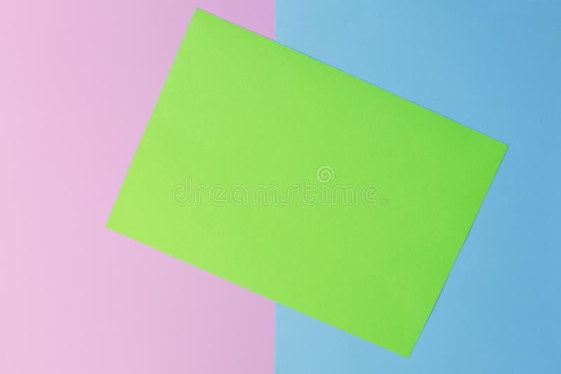 Soft pink, green and blue paper as texture background. Flat lay. Minimal concept. Creative concept. Pop Art. royalty free stock photo