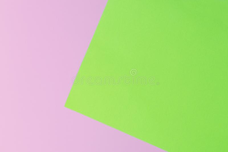 Soft pink and green paper as texture background. Flat lay. Minimal concept. stock photo