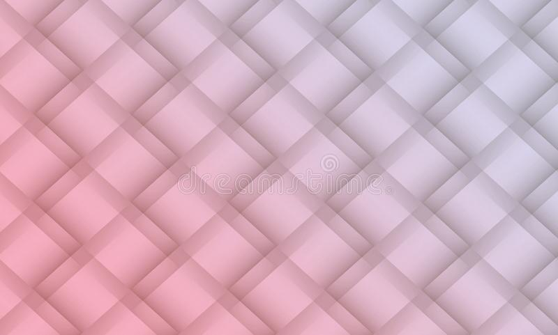 Soft pink and light gray diagonal geometric squares lattice abstract pattern background illustration. High resolution computer generated abstract fractal stock illustration