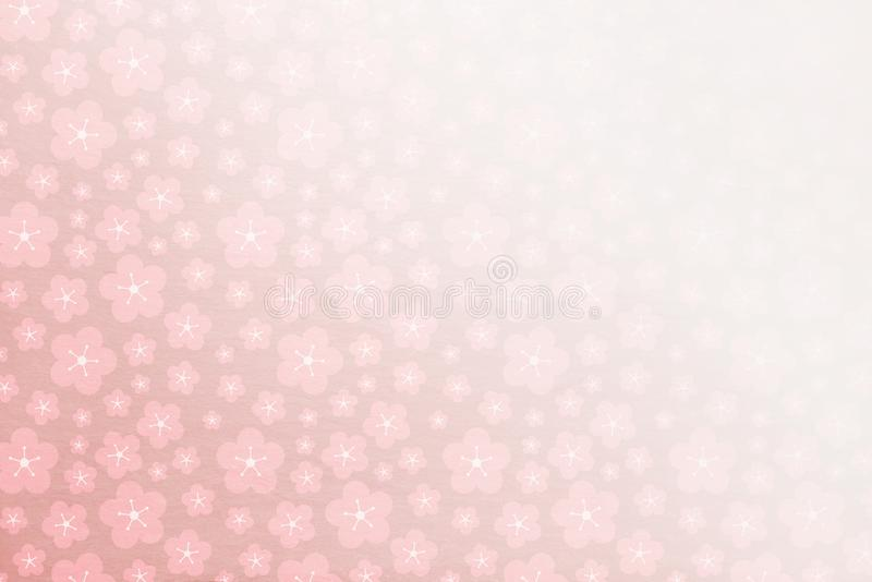 Soft pink sakura spring background with soft stone texture behind - fading in corner - flowers, cherry blosso stock illustration