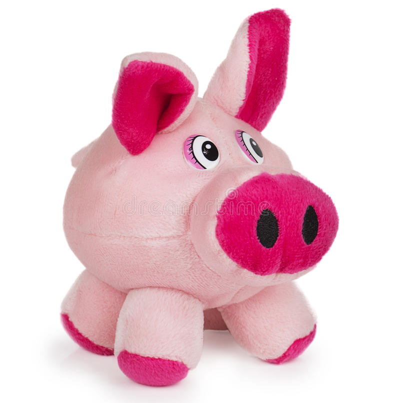 Soft pink toy pig royalty free stock images