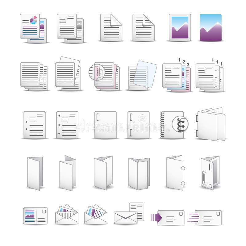 Soft printing icons. Icon set for printing utilities stock illustration