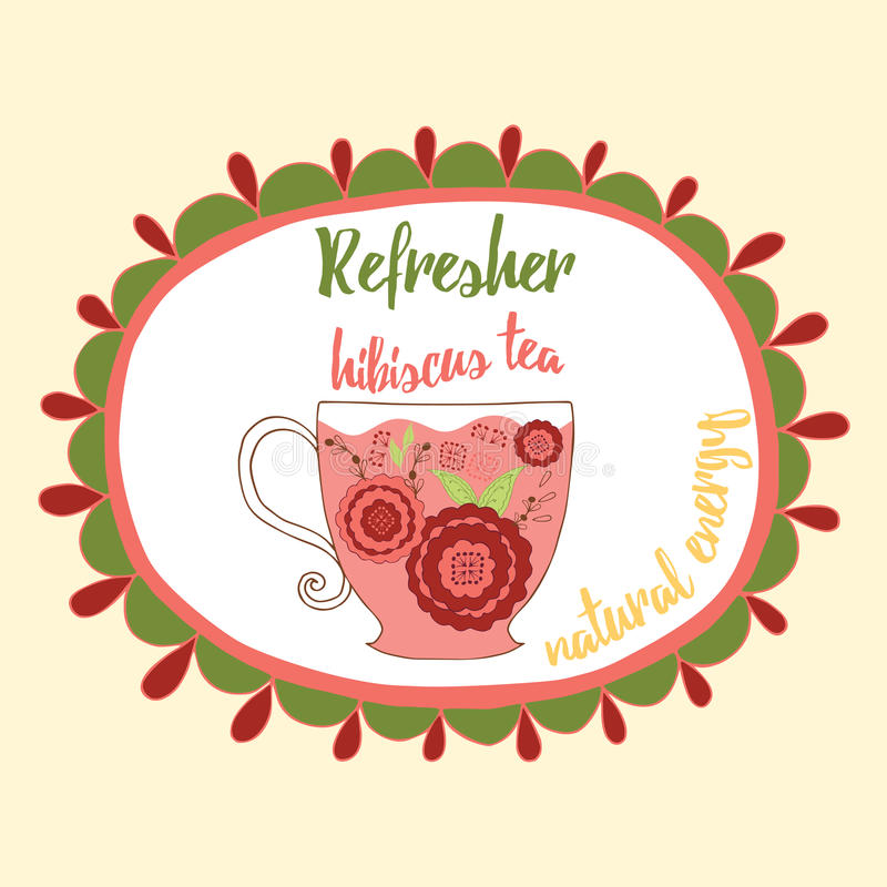 Soft refresh drink illustration. Fresh hibiscus red tea with flowers made in doodle style into round frame with text. royalty free illustration