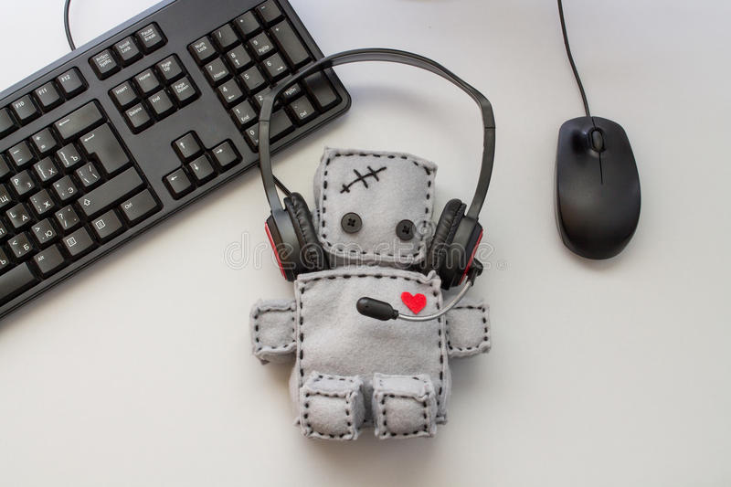 Soft Robot Toy Call Center stock photos