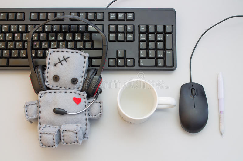 Soft Robot Toy Helpdesk objects royalty free stock images