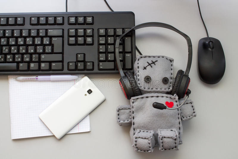 Soft Robot Toy Helpdesk royalty free stock images