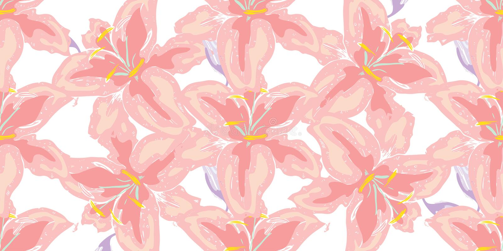Soft seamless floral pattern. Beautiful lily flowers on white. Abstract hand drawn vector background. Soft seamless floral pattern. Beautiful lily flowers on stock image