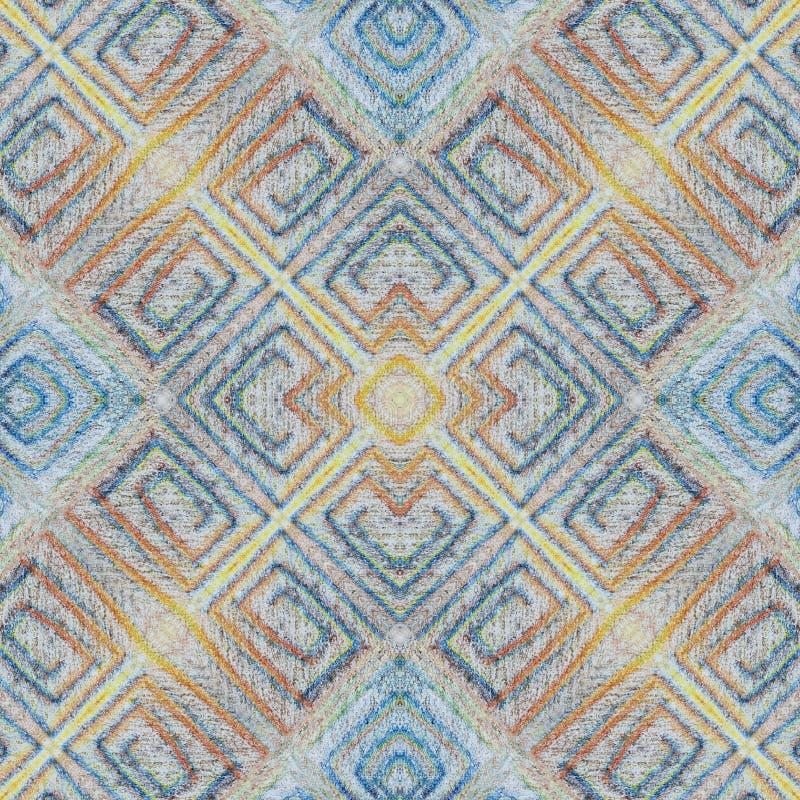 Soft seamless grunge colorful pattern. Collage with hand made pastel lines. Batik background, backdrop. Boho style, kaleidoscope stock image