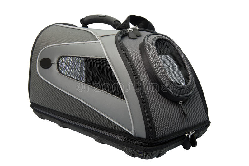 Soft Sided black and grey Cat Carrier isolated royalty free stock photos