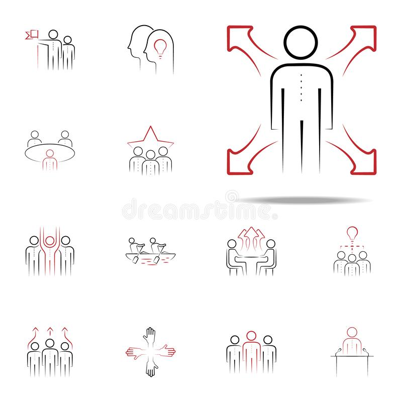 soft skill colored hand drawn icon. Team icons universal set for web and mobile royalty free illustration