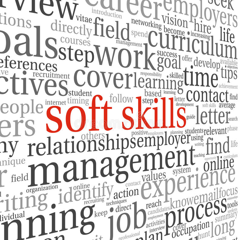 Soft skills concept on white stock illustration