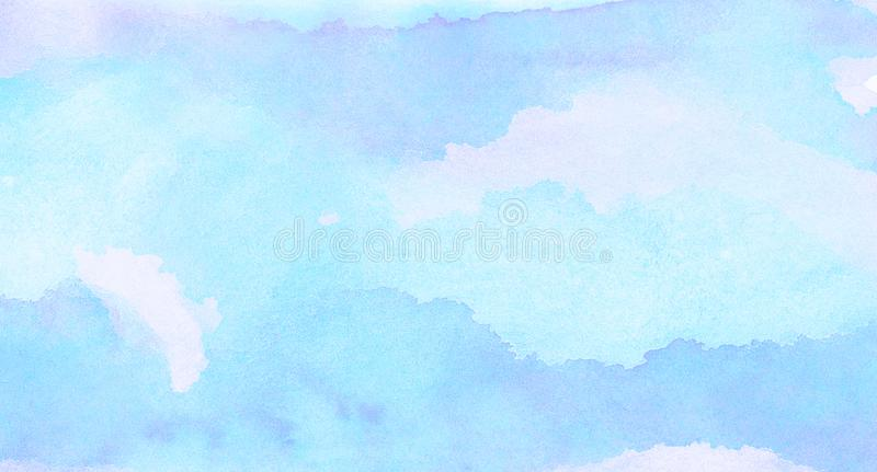 Soft smeared light sky blue color watercolor background. Aquarelle painted paper textured canvas for vintage design, invitation ca stock images