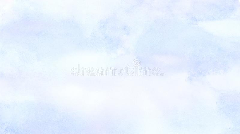Soft smeared light sky blue color watercolor background. Aquarelle painted paper textured canvas for vintage design, invitation ca. Rd, template. Creative smooth stock illustration