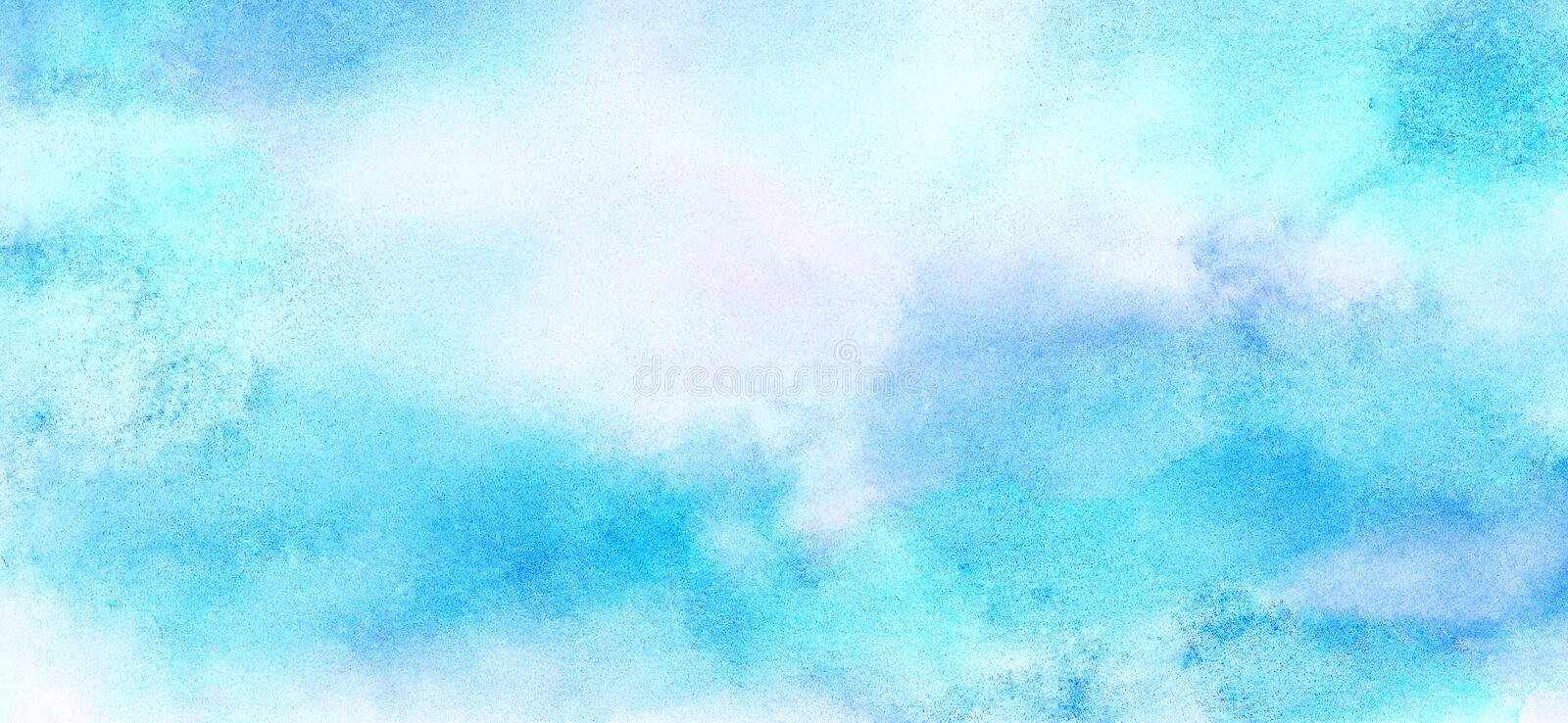 Soft smeared light sky blue color watercolor background. Aquarelle painted paper textured canvas for vintage design, invitation ca. Rd, template. Creative smooth vector illustration