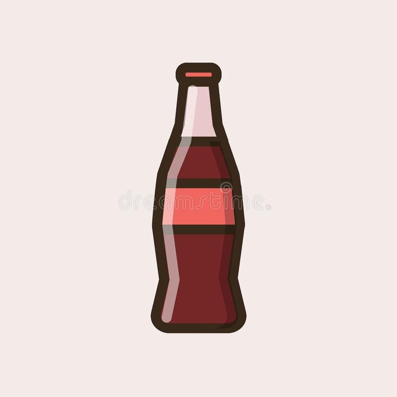 Soft soda drink in a glass bottle. Colorful isolated vector icon in flat style with outline for your project royalty free illustration