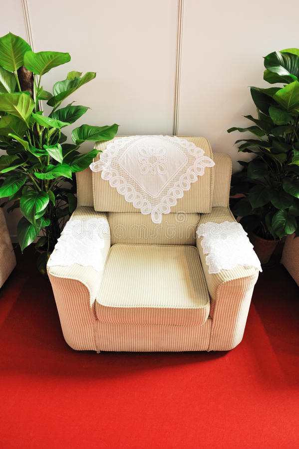 Download Soft sofa and green plants stock photo. Image of chairs - 26086352