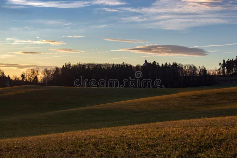Soft sunrise light in the highland stock photography