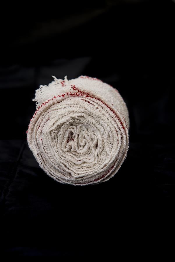 Soft tissue sanitary bandage for breaks, wounds and immobilizations stock image