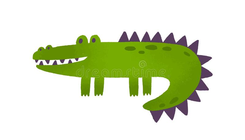 Soft toy crocodile flat vector illustration. Childish plush plaything. Smiling alligator, green artificial reptile. Cute vector illustration
