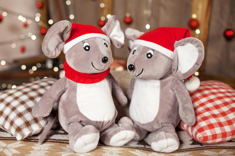 Soft toy grey rats on Christmas time. Symbol of the new year 2020 on the Chinese horoscope royalty free stock images