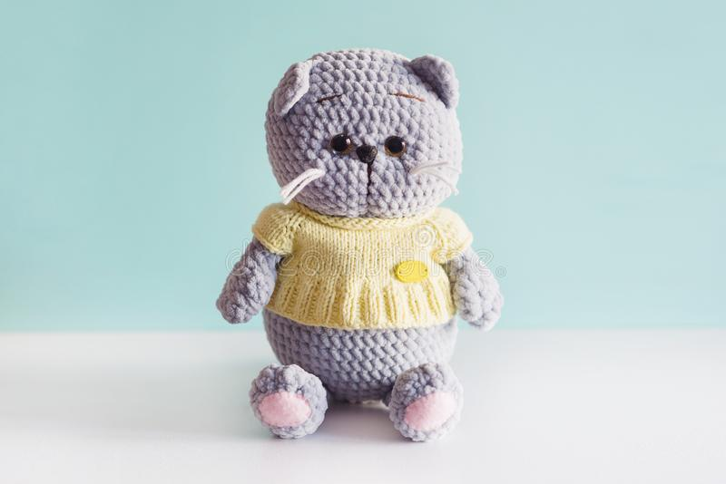 Soft toy knitted cat. Grey plush british fold cat in a yellow t-short on blue background stock photography