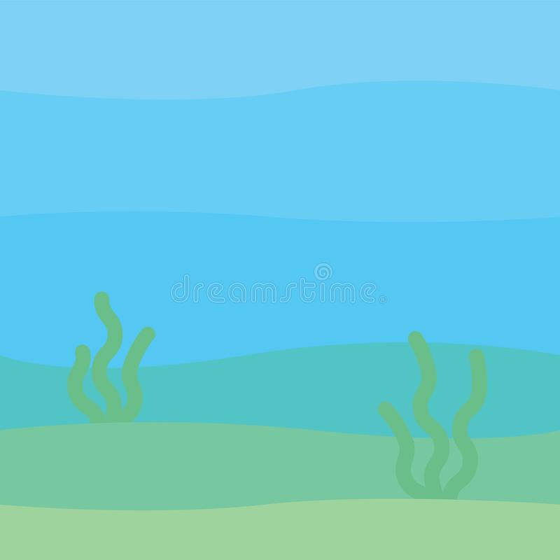Soft underwater landscape with waves, seabed and seaweed. Undersea scenery. Vector illustration in simple minimalistic vector illustration