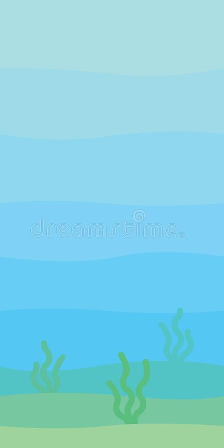 Soft underwater landscape with waves, seabed and seaweed. Undersea scenery. Vector illustration in simple minimalistic. Flat style. Scene for your artwork and royalty free illustration