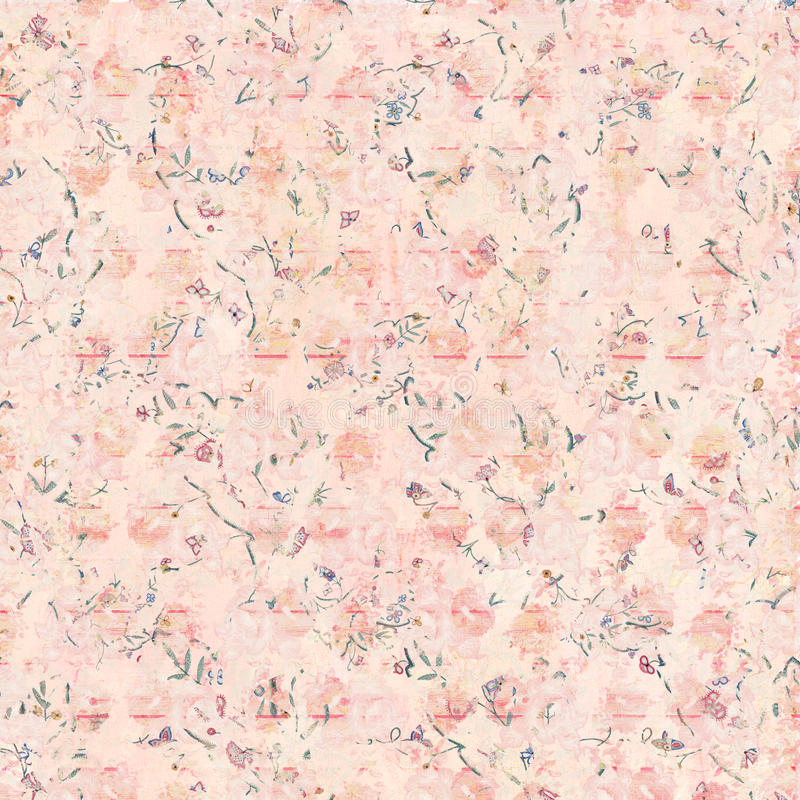 Soft Antique Shabby Floral Pattern Background In Pink