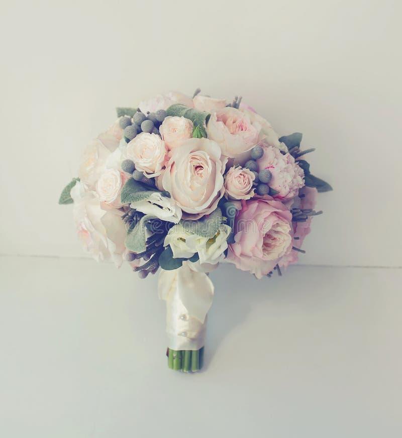 Soft vintage photo gentle wedding bouquet stock images