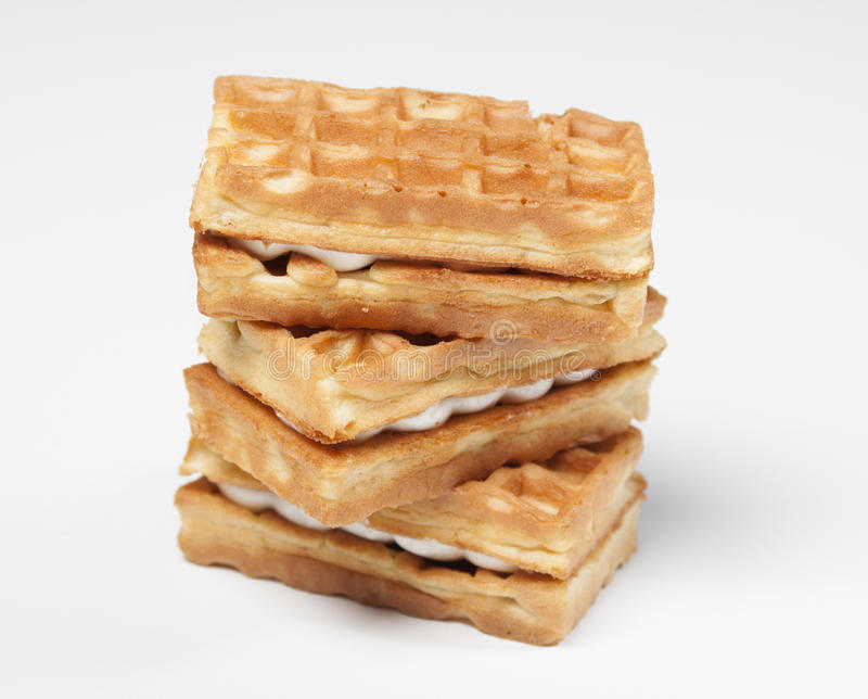 Soft waffles with cream stock photography