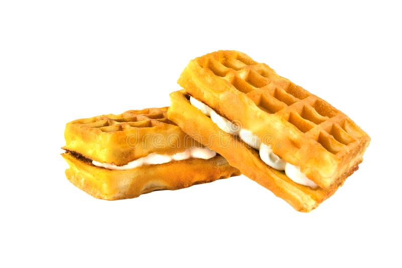 Soft waffles with a filling. stock images