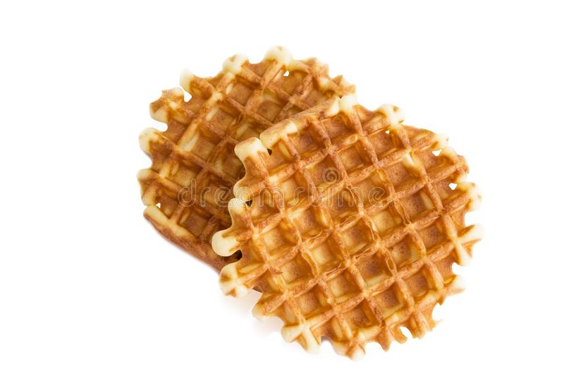 Soft waffles, sweet pastries, isolated on white background, close - up,. Top view stock images