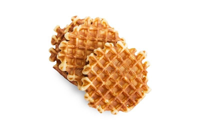 Soft waffles, sweet pastries, isolated on white background, close - up,. Top view stock photo