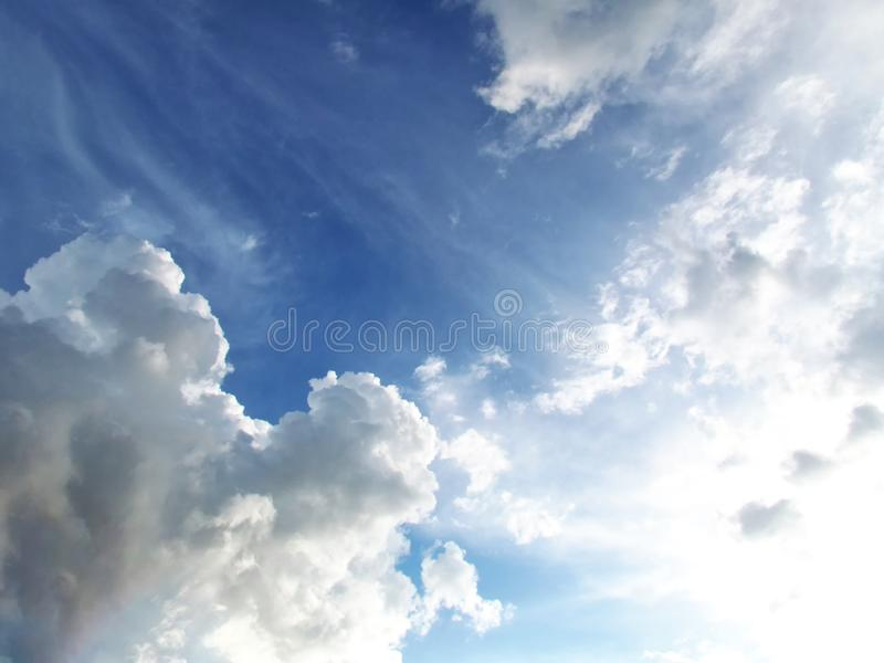 Soft white clouds against blue sky  in good weather days stock images