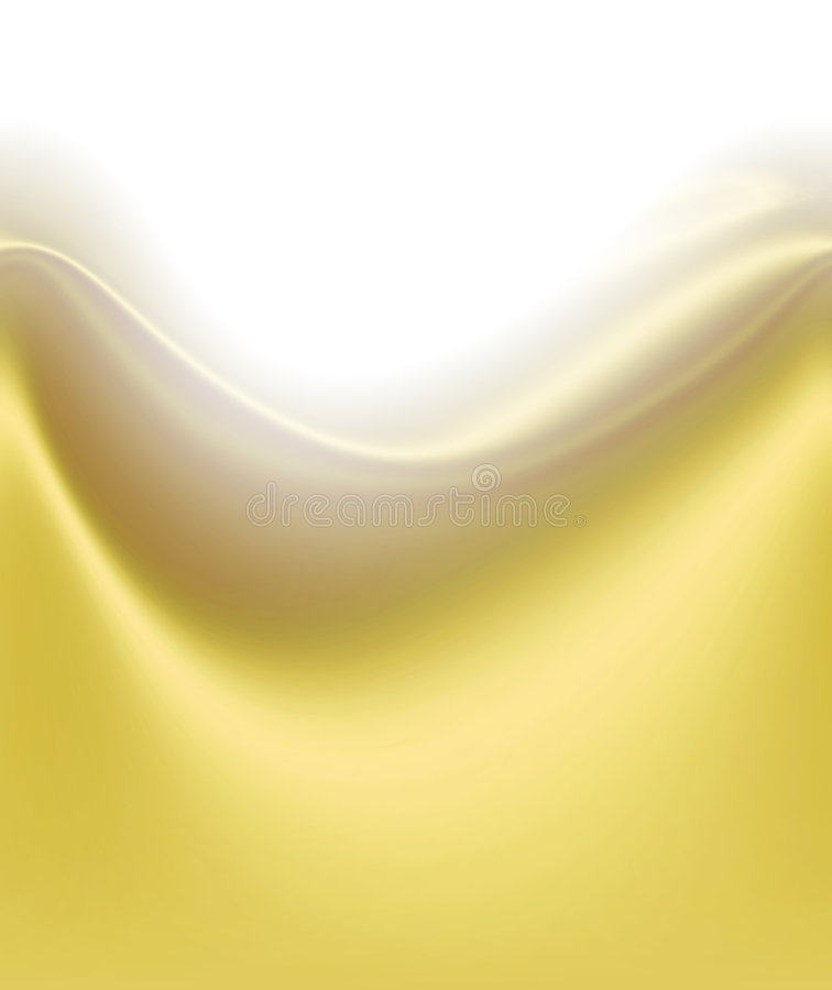 Soft Yellow Satin Wave. Smooth silky satin waves of soft yellow tone fabric with folds, creases and shadows for depth flowing across the page with white royalty free illustration