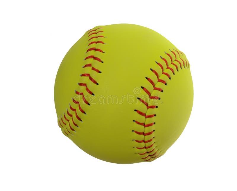 Softball auf klarem weißem Hintergrund stockfotos