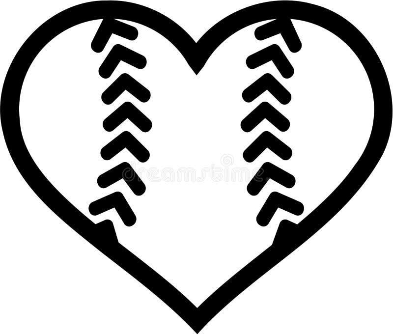 Softball ball heart. Vector sports stock illustration