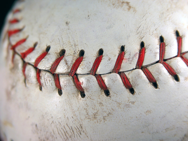 Softball closeup of stitching stock photo