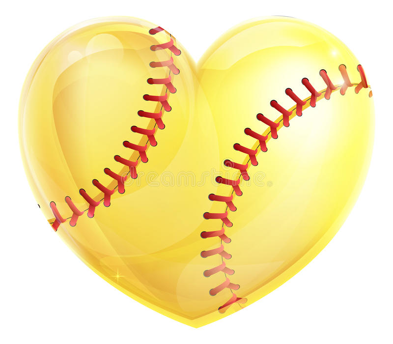 Softball dado forma coração ilustração do vetor