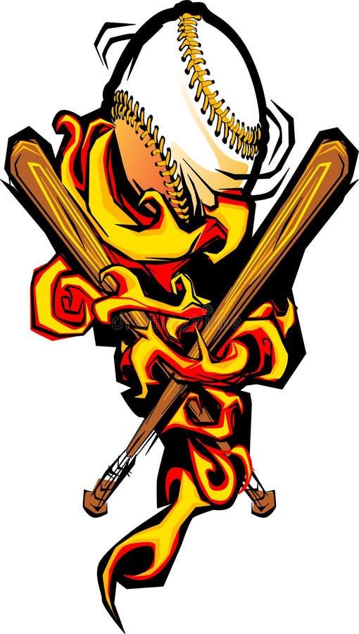 Softball flamejante e bastões do basebol ilustração stock