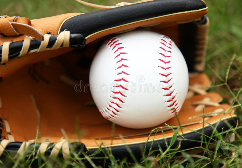 Softball In Glove royalty free stock images