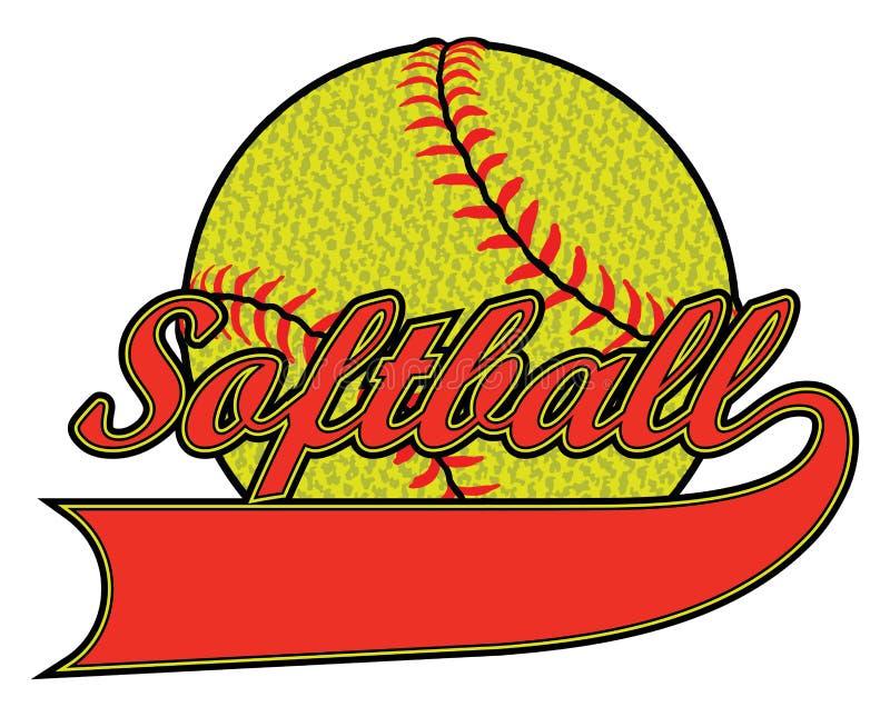 Softball met Banner en Geweven Bal vector illustratie