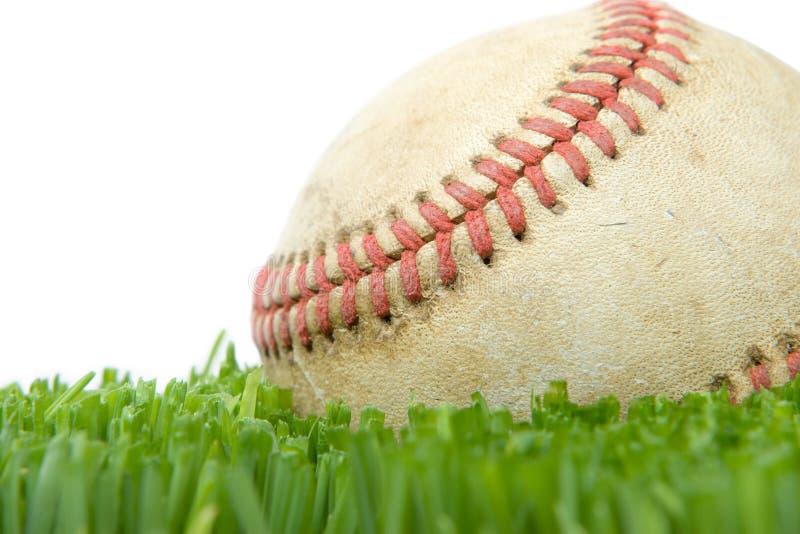 Softball nella fine dell'erba in su fotografie stock