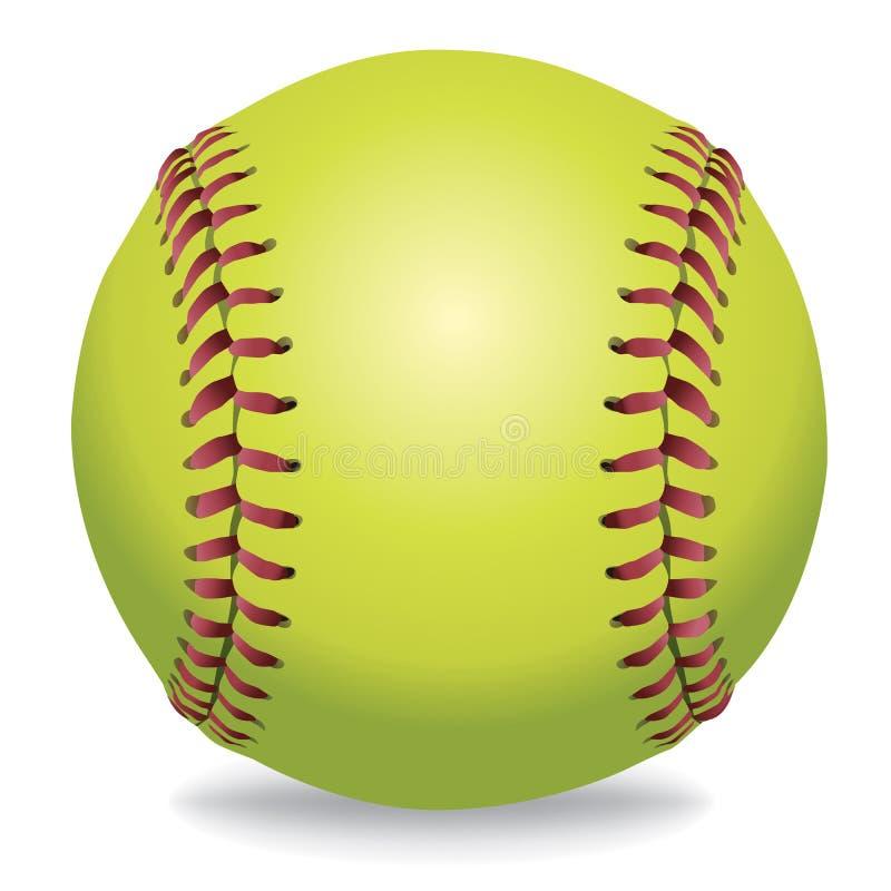 Softball op Witte Illustratie stock illustratie