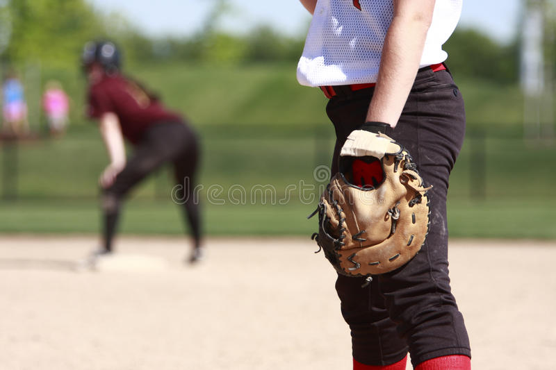 Softball players. On the field royalty free stock photo