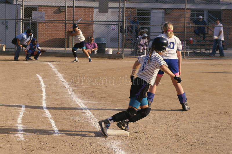 Softball players royalty free stock images