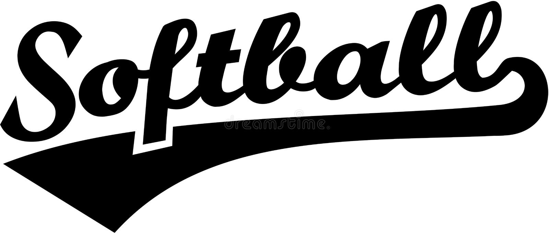Softball retro word. Vector sports royalty free illustration