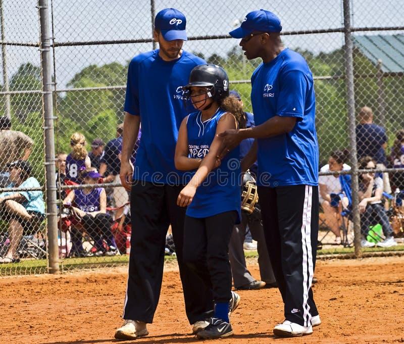 Softball-Verletzung des Mädchens stockbild